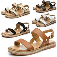 Womens Girls Flat Strappy Gladiator Beach Sandals Buckle Strap Slingbacks Shoes