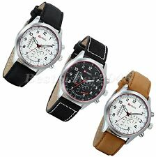 Army Military Mens Watches Round Dial Leather Strap Quartz Analog Wrist Watch