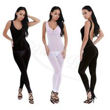 Women Lingerie See-through Backless Zippered Crotch Bodysuit Jumpsuit Sleepwear