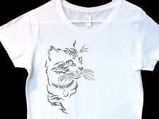 Ladies Rhinestone Tee Black Cat Short Sleeve Premium LAT Brand Ringspun Cotton