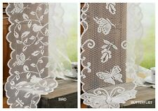 "Shabby Scalloped edged Lace Table Runner 13"" x 96"" Choose Bird or Butterflies"