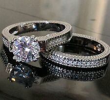 925 Sterling Silver Wedding Set AAAAA CZ Round Brlliant Bridal Engagement Rings