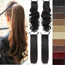 US 100% Natural Clip In Ponytail Hair Extension Ribbon Drawstring Tie Up Long A0