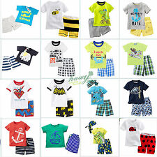 Toddler Kids Baby Boy Summer Short Sleeve T-shirt Shorts Pants Beach Outfit Set