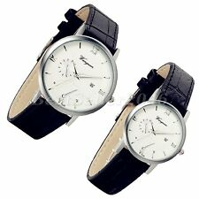 Fashion Date Round Dial Ultra Thin Leather Mens Womens Quartz Analog Wrist Watch