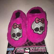 Girls Monster High Black Pink Blue House Slippers Rubber Soles Size Small 11/12