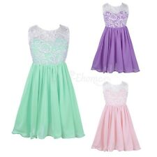 Girls Floral Dress Kids Summer Party Dresses Age 3-12 Years Wedding Bow Dress