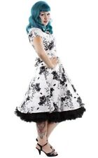 Hearts & Roses Loretta White Floral Dress 50's Rockabilly Vintage Pinup Retro