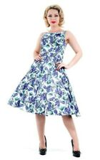 Hearts & Roses Antelope Blue Floral Pinup Dress Vintage Retro Prom 50's Swing