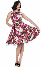 Hearts and Roses (H&R) Pin Up Rockabilly Retro Audrey Cream Floral Swing Dress