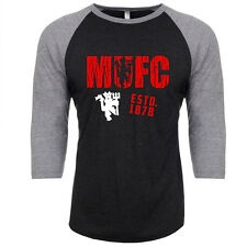 Manchester United MUFC Soccer Futbol Football Raglan Jersey Top Club EST. 1878