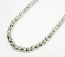 "4MM 14K White Gold Diamond Cut Moon Chain Necklace - Size 24""-30"""
