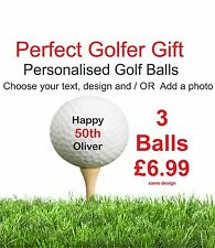3 x Personalised Golf Balls - Perfect Golfer Gift (same design on all 3 balls)