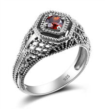Red Garnet  Rings CZ 925 Sterling Silver Filigree Edwardian Ring Size 5 6 7 8 9