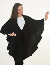 Daisy Knitted Womens Fashion Trendy Long Batwing Cardigan Poncho Cape