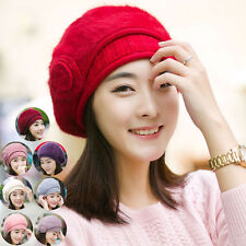 Lady Women Braided Winter Warm Baggy Cap Knit Oversized Slouch Crochet Ski Hat 8