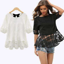 2017 Fashion Womens Lace Short Sleeve Casual Shirt Loose Ribbon Blouse Tops 145