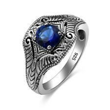 Sapphire Rings 925 Sterling Silver Vintage Handmade Gemstone ring  Fine Jewelry