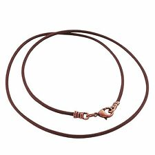 Antique Copper 1.8mm Fine Brown Leather Cord Necklace