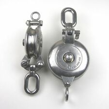 "Stainless Steel T316 Snatch Block With Swivel Eye - 6"" Sheave Rigging Block"