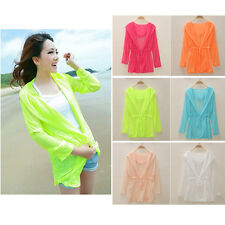 Women Candy Color Long Sleeve Cardigan Sunscreen Outwear Shirts Jacket With Hat