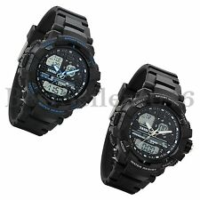 Multifunction Dual Zone Time Date Alarm Mens Sport Electronic Quartz Wrist Watch