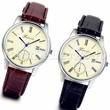 Luxury Mens Date Dial Leather Band Casual Sport Analog Quartz Wrist Watch Gift