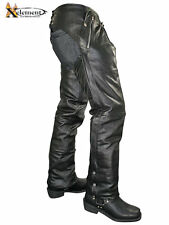 Xelement Men's Cowhide Leather Motorcycle Chaps Removable Insulating Liner Sz 34
