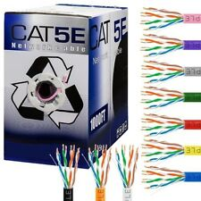 1000ft Cat5E RJ45 Solid Wire 24AWG 350Mhz Network LAN Ethernet Bulk CCA Cable