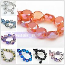12mm/14mm 10pcs Faceted Charms Crystal Glass Drum Loose Spacer Beads Findings