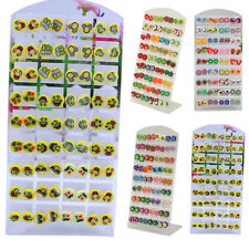 36 Pairs Cute Animal Flower Fruit Polymer Clay Women Ear Stud Earrings Gift Sass