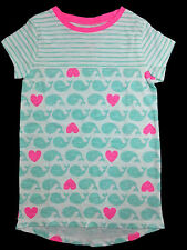 NWT Jumping Beans White Long Tee with Green Whale Pink Hearts, Girl Sizes 5, 7