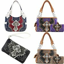 Justin West Concealed Carry Floral Studs Laser Cut Cross Handbag Purse Wallet