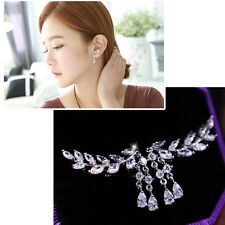 Women Tassel Rose Gold Plated Leaf Crystal Earrings Fashion Zircon Jewelry