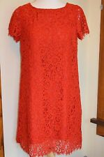 NWT Zara Woman Guipure Red Lace Floral Dress, Size XS, S