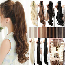 Elegant Thick Claw Clip in Ponytail Hair Extensions Jaw on Straight Curly Wavy A