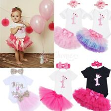 Baby Girls' Tutu Romper 1st Birthday Tutu Outfit Dress Headband Skirt 3pcs Set