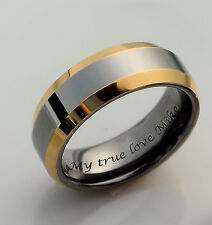 PERSONALIZED TWO TONE SILVER & GOLD TUNGSTEN RING ENGRAVED FREE 6mm PROMISE RING