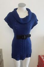 Ladies Blue Knitted Beaded Wooley Turtle Neck Dress Long Top with Belt Size S,M