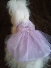DOG DRESS /HARNESS  AND HAIR BOW LAVENDER PARTY DRESS