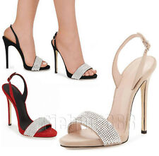 Womens Stiletto High Heel Diamante Ankle Strappy Party Bridal Evening Sandals