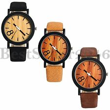 Fashion Mens Womens Watches Wooden Dial Leather Band Quartz Analog Wrist Watch