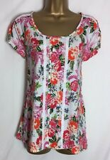 M*S White Pink Mix Print Cotton Lace Detail Top Size 14,16 & 18 New (ms-172h)