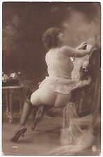 1910 ORIGINAL FRENCH EROTIC RPPC NUDE SEXY GIRL JEAN AGELOU BEAUTY BUTT LINGERIE