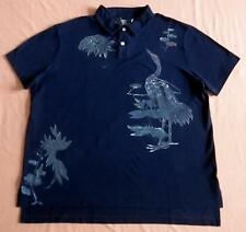 NWT POLO RALPH LAUREN BIRD PRINT NAVY MESH POLO SHIRT CUSTOM FIT SIZE L OR XXL