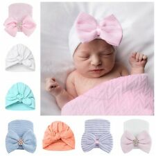 Newborn Infant Toddler Girls Baby Stripe Bow Knot Beanie Hat Comfys Hospital Cap