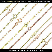 """9CT GOLD PLATED ON 925 STERLING SILVER BALL BELCHER TRACE ROPE CHAIN 16 - 24"""""""