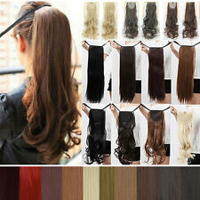 Real Thick Layered Drawstring Pony Tail Clip In Hair Extensions Long Ponytail A9