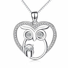 "925 Sterling Silver Mom and Kid Owl Pendant Heart Animal Necklace CZ /18"" Chain"