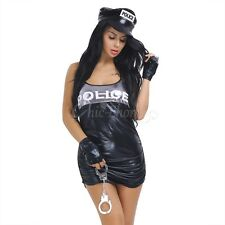 Ladies Police Woman Costume Officer Uniform Backless Fancy Dress Party Outfit